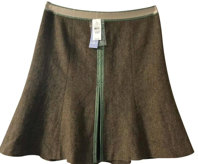 Item - Brown & Green Wool Blend Beaded A-line - New Skirt Size Petite 10 (M)