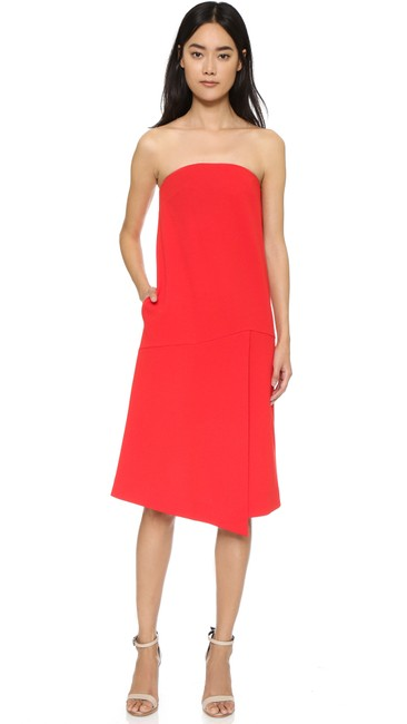 Tibi Red Strapless Structured Short Cocktail Dress Size 4 (S) Tibi Red Strapless Structured Short Cocktail Dress Size 4 (S) Image 1