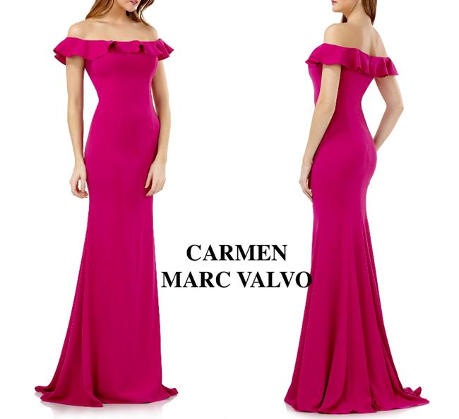 Item - Pink Infusion Off Shoulder Ruffle Neck Gown Long Cocktail Dress Size 12 (L)