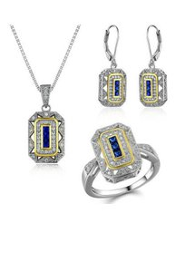 9.2.5 Stunning 3pc Art Deco sapphire necklace ring earrings set.