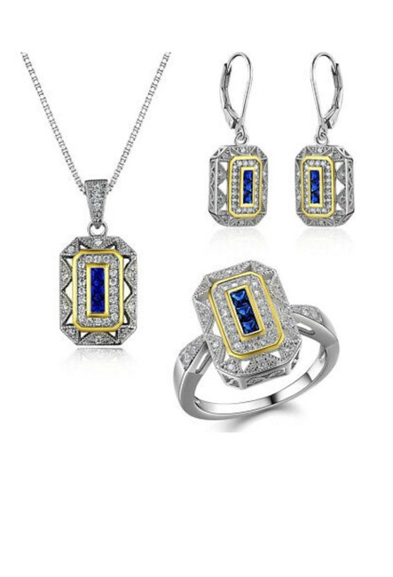 Item - Blue Clear Stunning 3pc Art Deco Sapphire Ring Earrings Set. Necklace