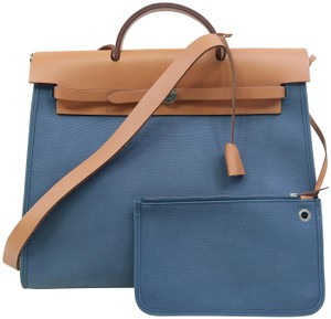 Hermès Herbag Zip39 Canvas Satchel in Azur