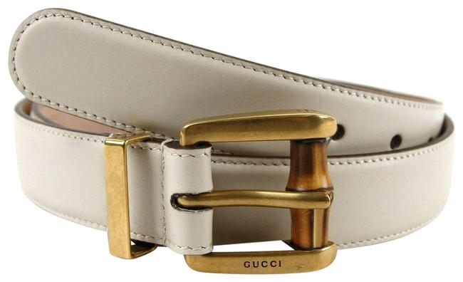 Gucci Off White Leather Square Buckle Bamboo Detail 95/38 339068 9022 Belt Gucci Off White Leather Square Buckle Bamboo Detail 95/38 339068 9022 Belt Image 1
