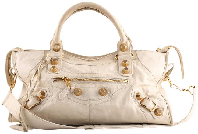 Item - City White Lambskin Leather Tote