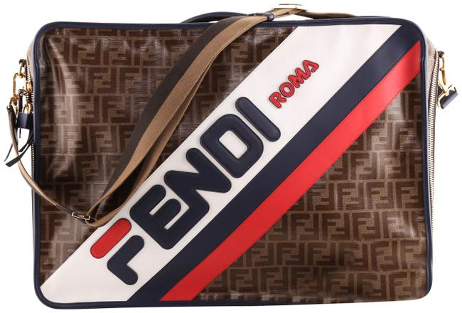 Item - Mania Ff Suitcase Brown/ Red/ White/ Blue Coated Canvas Weekend/Travel Bag