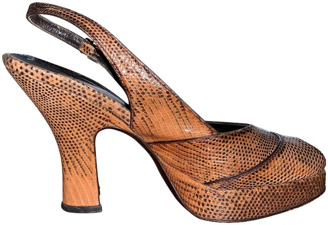 Item - Brown Snake Slingback Pumps Size EU 36 (Approx. US 6) Regular (M, B)