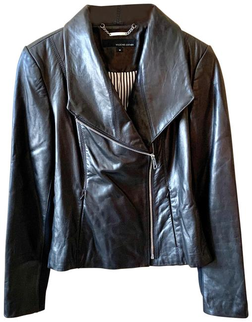 Item - Black Asymmetrical Shawl Collar Jacket Size 8 (M)