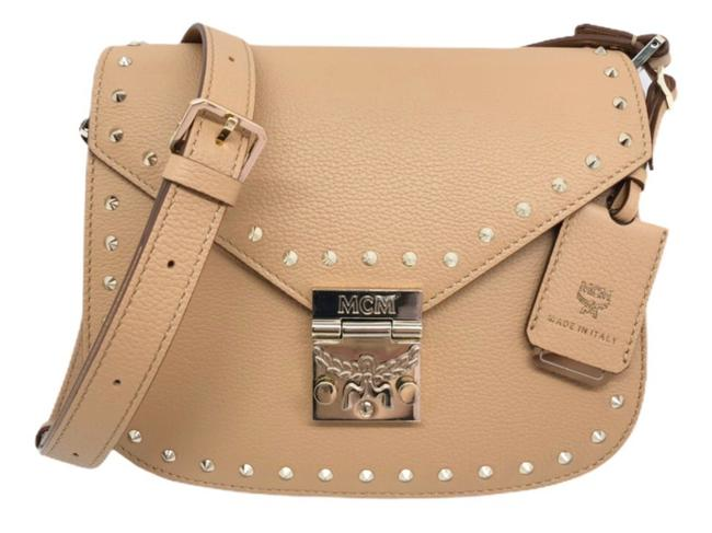 Item - Patricia Studded Outline Grained Timeless Biscuit Beige Leather Cross Body Bag