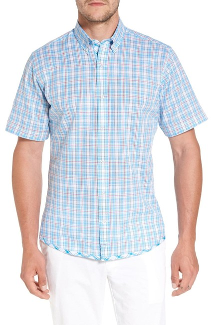 Tailorbyrd Blue Mens Short Sleeve Nectarine Sport Shirt Button-down Top Size 12 (L) Tailorbyrd Blue Mens Short Sleeve Nectarine Sport Shirt Button-down Top Size 12 (L) Image 1