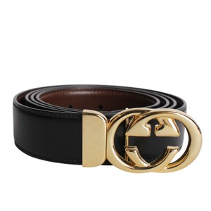 Gucci Leather Black and Brown Reversible GG initial Belt Size 44 8270