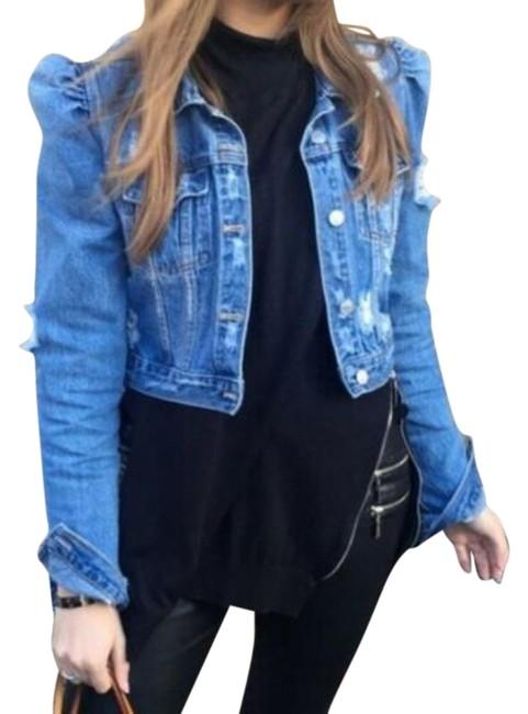 Item - Blue Puff Sleeves Distressed Ripped Jacket Size 8 (M)
