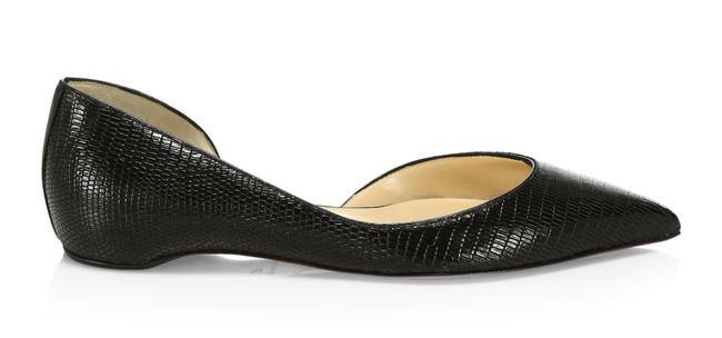 Item - Black Iriza Calf Zarli Kid Lizard Pointed Toe Ballerina Ballet Flats Size EU 37.5 (Approx. US 7.5) Regular (M, B)