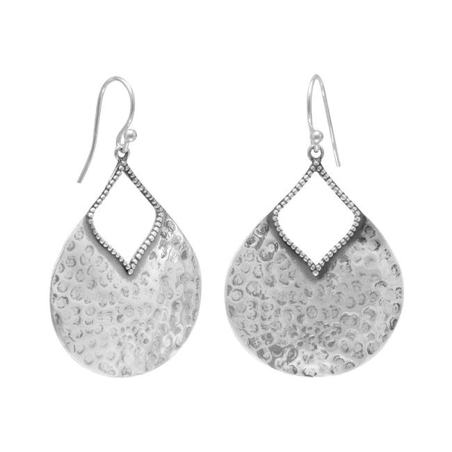 Silver Oxidized Hammered Pear Shape Earrings Silver Oxidized Hammered Pear Shape Earrings Image 1