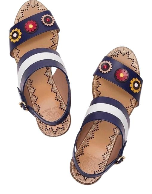 Item - Navy Sea White Red and Yellow Marguerite New Two-band Sandals Size US 10 Regular (M, B)