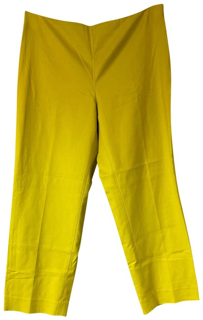 St. John Chartreuse Stretchy Cotton Casual Pants Size 12 (L, 32, 33) St. John Chartreuse Stretchy Cotton Casual Pants Size 12 (L, 32, 33) Image 1