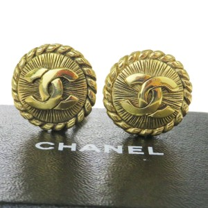 Chanel Gold Cc Logo Button Gold-tone Clip-on Earrings