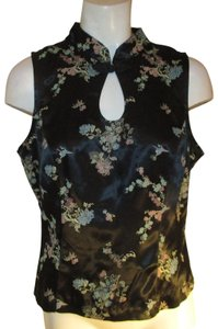 All That Jazz Sleeveless Oriental Fitted Jaquard Oneam001 Top black multi
