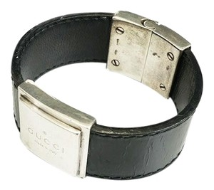 Gucci Auth Gucci Bracelet Bangle Square Plate Logo Plate Leather,Silver 925 Navy