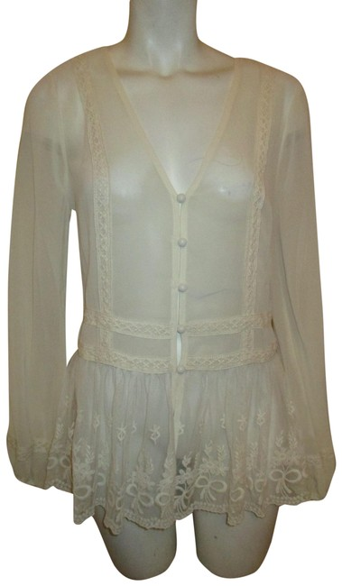 Item - Sheer Lace Button Down Tunic Blouse Cream Top