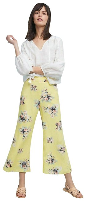 Item - New Yellow Talese Floral By Featherbone Pants Size 4 (S, 27)