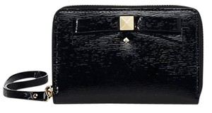Kate Spade 14 Karat Light Gold Plated Hardware Wristlet in Black