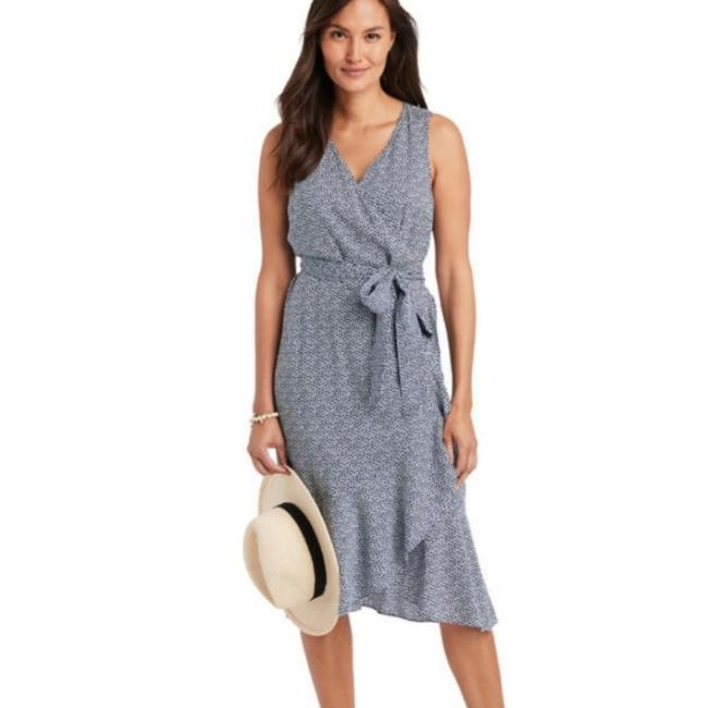 Item - Blue and White Scallop Dot Wrap Mid-length Short Casual Dress Size 12 (L)
