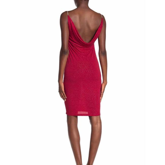 Item - Red Back Cowl Glimmer Mid-length Night Out Dress Size 14 (L)