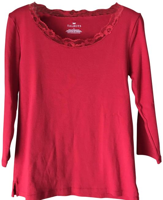 Item - Red/Red Lace Scoop Neck Tee Shirt Size 6 (S)