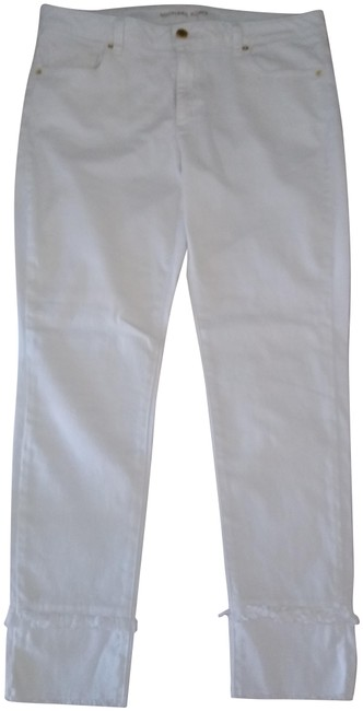 Item - White New Slim Lizzy Crop with Extra Detailing Boyfriend Cut Jeans Size 34 (12, L)