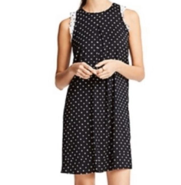 Item - Black/White Polka Dot Ruffle Sleeve Short Work/Office Dress Size Petite 4 (S)