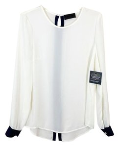 Blaque Label Long Sleeve Top Blue & Ivory
