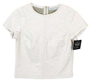 Costa Blanca Faux Leather Crop Top Ivory