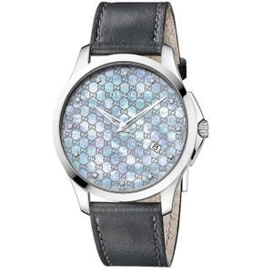 Gucci G-Timeless Leather Strap Mother of Pearl Womens YA126307