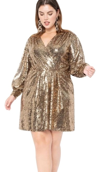 Item - Gold Sequin Puff Sleeve Wrap Cocktail Dress Size 14 (L)