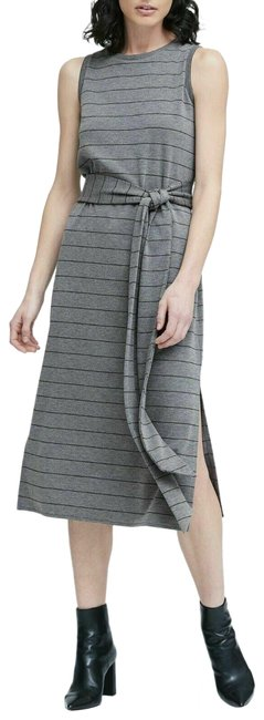 Item - Gray Stripe Ponte Tank Mid-length Casual Maxi Dress Size 4 (S)