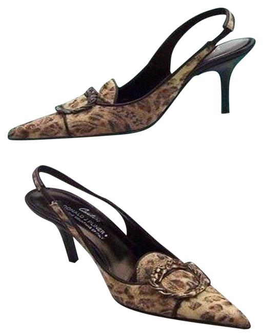 Item - Black Brown Bronze Couture Leather New French Leopard Tapestry Pumps Size US 5.5 Regular (M, B)