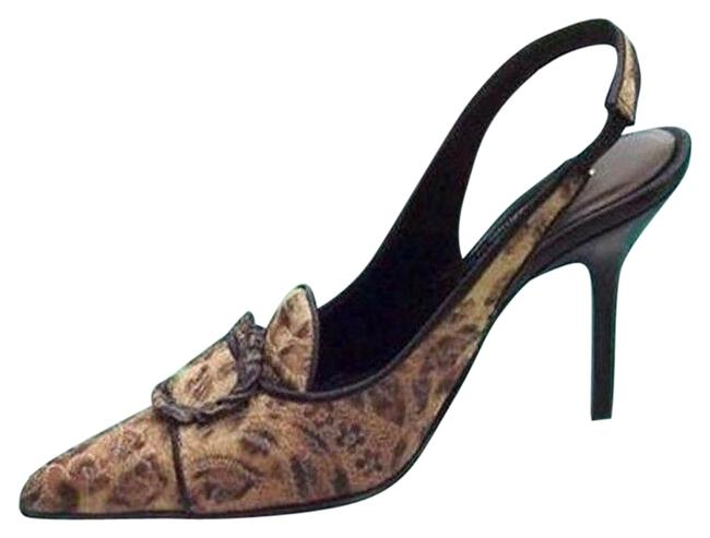 Item - Black Brown Bronze Couture Leather New French Leopard Tapestry Pumps Size US 7.5 Regular (M, B)