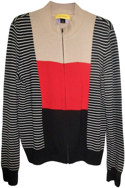 Item - Black White Beige Red Zip Up Colorblock and Stripe Sweater Jacket Cardigan Size 12 (L)