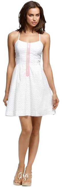 Item - White W Alexi A-line Color W/ Rainbow Polka Short Casual Dress Size 12 (L)