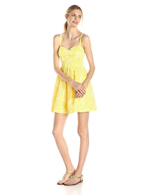 Item - Yellow Women's Christine White Sea Cups Color Short Casual Dress Size 12 (L)