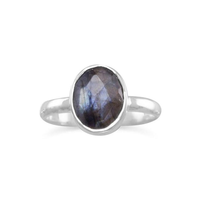 Silver Faceted Labradorite Stackable Ring Silver Faceted Labradorite Stackable Ring Image 1