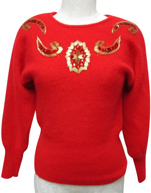 Outlander Vintage Jeweled Beaded Wool Angora Size Small Sm Red & Gold Sweater Outlander Vintage Jeweled Beaded Wool Angora Size Small Sm Red & Gold Sweater Image 1