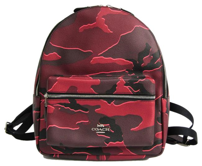 Item - Charlie Wild Camouflage Print Medium F31452 Women's Bordeaux / Multi-color Leather / Nylon / Coated Canvas Backpack