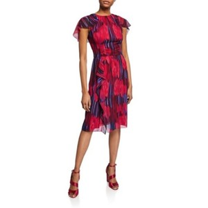 Halston Heritage Printed Flutter Sleeve Midi Georgette Dress