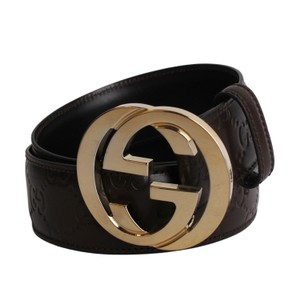 Gucci Leather Brown GG initial Belt Size 32 8283