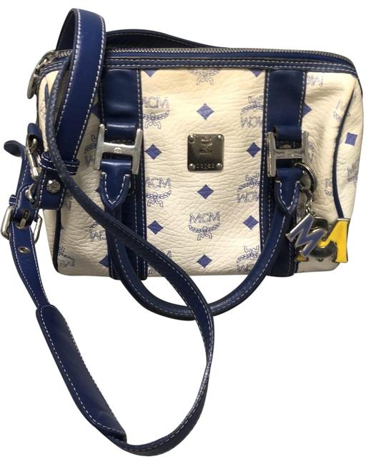 Item - Boston Visetos Blue and Cream Leather Cross Body Bag