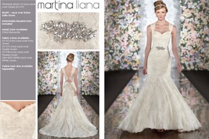 Martina Liana Ivory Lace Over Oyster Gown Dolce Satin Ml 441 Feminine Wedding Dress Size 4 (S)