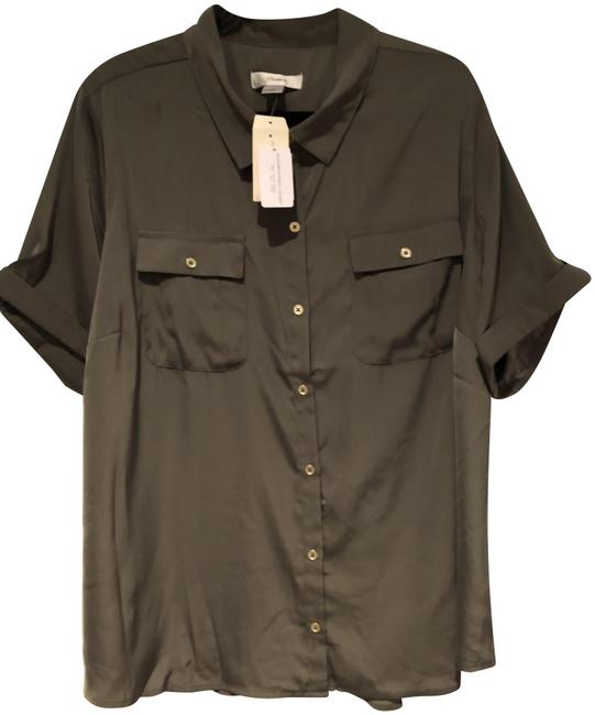 Item - Olive Green Short Sleeve Utility Blouse Rolled Sleeve Button-down Top Size 22 (Plus 2x)