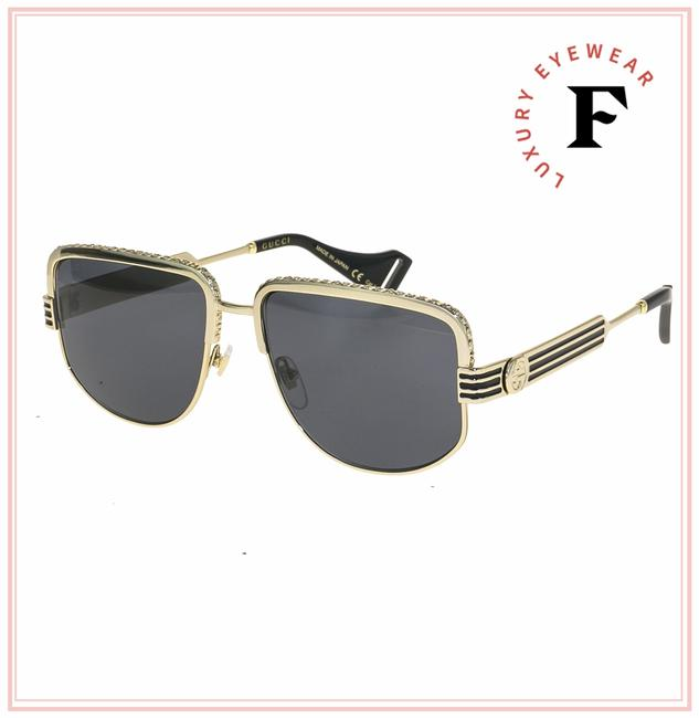 Gucci Gold Black Stripe 0585 Grey Crystal Metal Aviator Gg0585s Unisex Sunglasses Gucci Gold Black Stripe 0585 Grey Crystal Metal Aviator Gg0585s Unisex Sunglasses Image 1
