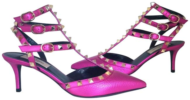 Item - Fuschia Rockstud Kitten Heels Sandals Size EU 36 (Approx. US 6) Regular (M, B)